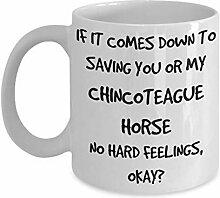 Lustige Porzellan-Kaffeetasse mit Pferd, weiß,