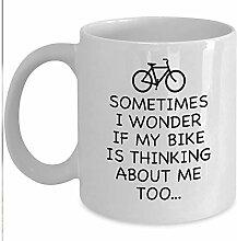 Lustige Radfahrer Geschenkbecher-Ich frage mich,ob