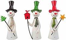Lustige Schneemänner - Metall - 3 Stück sortiert - 15cmx8cmx23cm - Rot - Indoor & Outdoor - Weihnachtsdeko