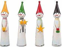 Lustige Schneemänner - Metall - 4 Stück sortiert - 10cmx10cmx33cm - Bunt - Indoor & Outdoor - Weihnachtsdeko