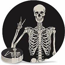 Lustige Skelett-Untersetzer, saugfähige