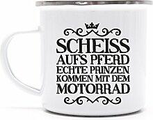 Lustige Statement Metalltasse Emaille Kaffee Becher mit Motiv Tasse Mug Scheiss aufs Pferd, Größe: onesize,weiß/silber