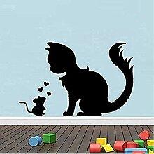 Lustige Tierkatze Liebe Tapete Aufkleber