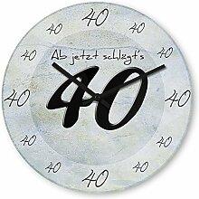 Lustige Wanduhr mit Motiv - Ab jetzt schlägt´s 40 - aus Echt-Glas | runde Küchen-Uhr | große Uhr modern