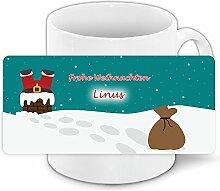 Lustige Weihnachtstasse mit Namen Linus und