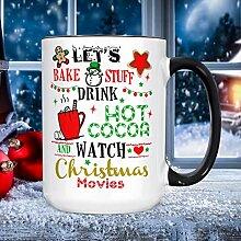 Lustige Weihnachtstasse mit Uhr, Weihnachtsfilme,