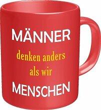 Lustige Witzige Kaffee Becher Tasse - Männer denken anders als wir Menschen