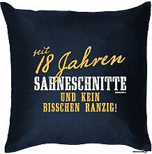 lustiger Print - zur Volljährigkeit Geschenke Idee zum 18 Geburtstag - Kissen mit Innenkissen - Sahneschnitte 18 Jahre 40x40 : )