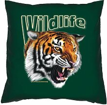Lustiger Sofakissen mit Füllung: Tiger (Kissenfarbe: Dunkel-Grün)