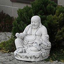 Lustiger Stein Buddha Mönch Gartendeko aus Steinguss frostfes