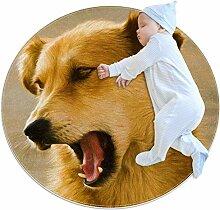 Lustiger Teppich mit Hundemotiv, rund, für