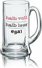 Lustiges Bierglas Bierkrug Icon 0,5L - Dekor: halb