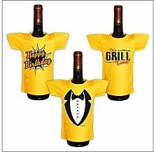 Lustiges Geschenk Mini T-Shirt für Flaschen zum Geburtstag : / Happy Birthday / It´s Grill Time / Smoking -- 3er Set Goodman Design®