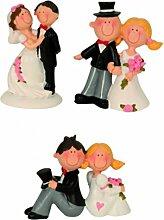 Lustiges Hochzeitspaar Brautpaar 6-8cm Auswahl Tisch-Deko Torten-Aufsatz Deko Braut steht links