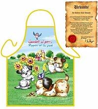 lustiges Hunde Motiv: Hündchen - Fun - Schürze für Kinder one Size Fb bunt mit GRATIS Geschenk-Urkunde : )