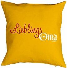 Lustiges Kuschelkissen für Oma - Geschenk Sprüche Kissen : Lieblings Oma -- Kissen ohne Füllung Farbe: gelb