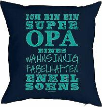 Lustiges Kuschelkissen für Opa - Großvater Sprüche Kissen : ... super Opa …. fabelhaften Enkelsohns -- Kissen mit Füllung Farbe: navyblau