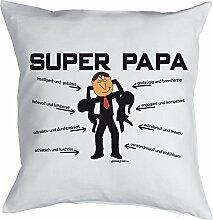 Lustiges Kuschelkissen für Papa - Väter Sprüche Kissen : Super Papa -- Kissen mit Füllung Farbe: weiss