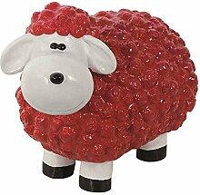 Lustiges Schaf rot Polyresin, 32x44x25cm