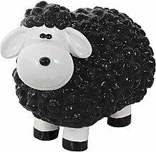 Lustiges Schaf schwarz Polyresin, 32x44x25cm