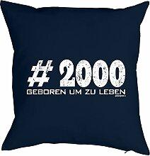 Lustiges Sprüche Kissen zum 18 Geburtstag - Geschenk-Idee Dekokissen : #2000 geboren um zu leben -- Geburtstag 18 Kissen Farbe:navy-blau