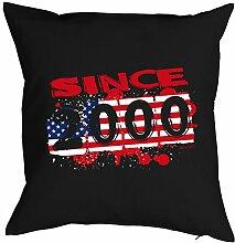 Lustiges Sprüche Kissen zum 18.Geburtstag - Geschenk-Idee Dekokissen 18: Usa 2000 -- Geburtstag 18 - Kissen ohne Füllung Farbe:schwarz