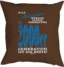 Lustiges Sprüche Kissen zum 18 Geburtstag - Geschenk-Idee Dekokissen : Männer gleich geschaffen 2000er -- Geburtstag 18 Kissen Farbe:braun