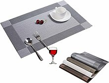 lutanky Tisch Tischsets, 6 Stück, hitzebeständig waschbar PVC Platzsets Wohnzimmern Tisch MATS, PVC, Silberfarben, 6er-Se