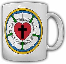 Lutherrose Symbol evangelisch lutherischen Kirche Siegel Martin Luther Wappen Abzeichen Protestant Kaffee Becher Tasse #13799