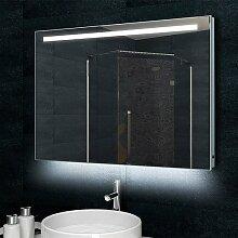 Lux-aqua Design Badezimmerspiegel Wandspiegel mit 770 Lumen Alu-Rahmen LED Beleuchtung 100 x 60 cm MLD60100