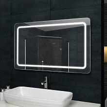 Lux-aqua Design Lichtspiegel Badezimmerspiegel LED Beleuchtung mit 1460 Lumen 120 x 60 cm MF69120