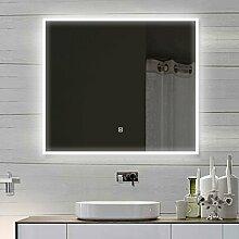 Luxaqua Design Wandspiegel Badezimmerspiegel mit LED TOUCH SCHALTER 80 x 60 cm - SAM80X60