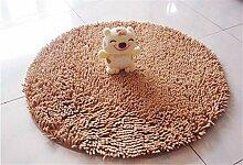 Luxbon Chenille Teppiche Stopp Antirutschmatte Badteppich Fussmatte Boden Sofa Matte Modern Kamel Rund Ø 60 cm