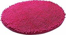 Luxbon Chenille Teppiche Stopp Antirutschmatte Badteppich Fussmatte Boden Sofa Matte Modern Rosa-Rot Rund Ø 60 cm