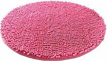 Luxbon Chenille Teppiche Stopp Antirutschmatte Badteppich Fussmatte Boden Sofa Matte Modern Pink Rund Ø 60 cm