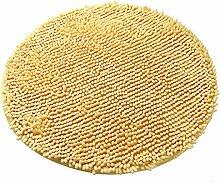 Luxbon Chenille Teppiche Stopp Antirutschmatte Badteppich Fussmatte Boden Sofa Matte Modern Beige Rund Ø 60 cm
