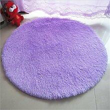 Luxbon Rund Hochflor Teppich Stopp Antirutschmatte Badteppich Fußmatten Boden Sofa Matte Einfarbig Violett Ø 120 cm