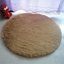 Luxbon Rund Hochflor Teppich Stopp Antirutschmatte Badteppich Fußmatten Boden Sofa Matte Einfarbig Khaki Ø 100 cm
