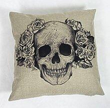 Luxbon Totenkopf Schädel Leinen Kissenbezug Sofakissen mit Reißverschluss Pillowcase Cover Cafe Auto Haus Deko 45 x 45 cm lange Haare Knochenfrau