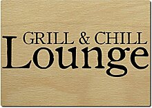 LUXECARDS POSTKARTE aus Holz GRILL & CHILL LOUNGE