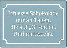 LUXECARDS POSTKARTE aus Holz ICH ESSE SCHOKOLADE Geschenk Spruchkarte Frauen