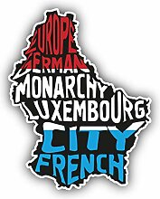 Luxembourg Map Flag Slogan - Self-Adhesive Sticker