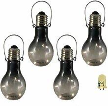 Luxform 4X Garten LED Deko Glühbirne Rauchglas