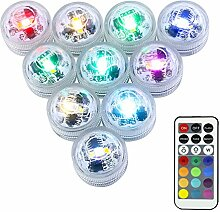 LUXJET® 10er Pack mini RGB Teichbeleuchtung,LED