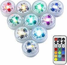 LUXJET® 10er Pack mini RGB Teichbeleuchtung,LED
