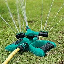 LUXJET Rasensprenger Automatische Bewässerung Gartensprenger für große flächen Sprühabstand 8 bis 10 meter, Wasser Garten Sprinkler 360° Rotierende 3- Arm Schlauchsysteme