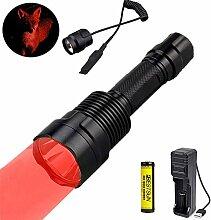 LUXJUMPER Rotlicht Taschenlampe, 1000 Lumen 300