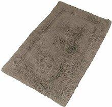 Luxuriös 100% weich Baumwolle Flaumig Stein Taupe Teppich Badezimmer Bad Matte 55 x 85cm