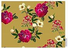 """Luxuriös Designer 100% Baumwolle Tischdecke - Blumenmuster Glade - """"Stechmücken Bank Garten"""" Sammlung - Entworfener Bedruckt & handgefertigt in Großbritannien (Wahl der Längen) - Mustard"""