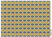 """Luxuriös Designer Marokkanische 100% Baumwolle Tischdecke - Badi - Grau - """"Marrakesch"""" Sammlung - Entworfener Bedruckt & handgefertigt in Großbritannien (Wahl der Längen) - Grau & Senffarben"""